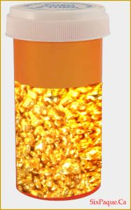 pill bottle filled with gold
