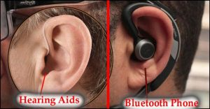 compare a hearing aid to a blue tooth in the ear