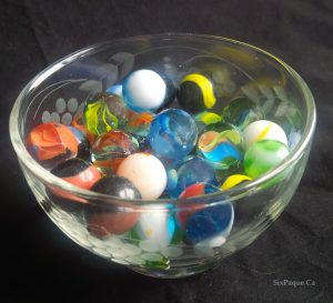bowl of collectable marbles