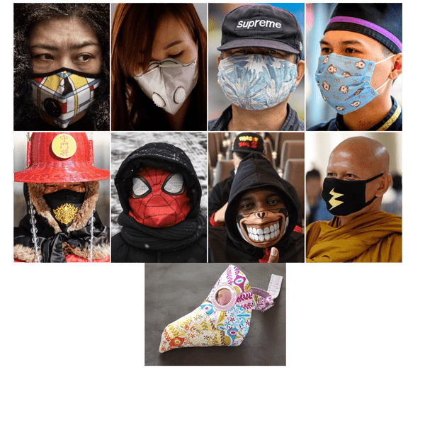variety of cool looking face masks